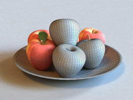 Apples on Plate 3d preview