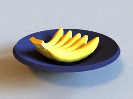 Bananas On Plate 3d preview