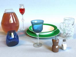Glasses Tableware 3d preview