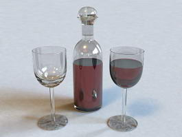 Wine Bottle and Glass 3d preview
