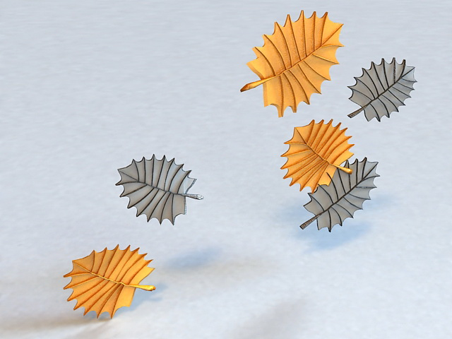 Gold Plated Leaf Charms 3d rendering