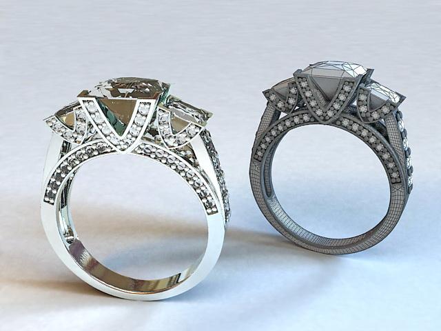 Princess Cut Diamond Ring 3d rendering