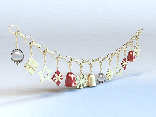 Christmas Bell Necklace 3d rendering