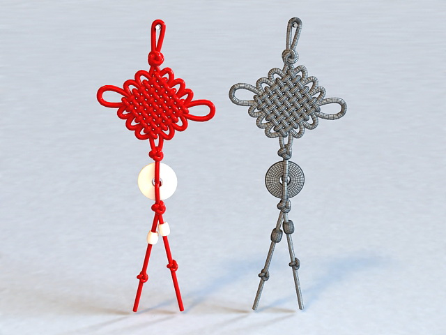 Chinese Knot Tassels with Jade 3d rendering