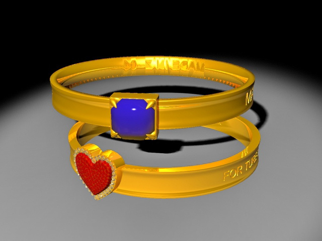 Ancient Couple Rings 3d rendering