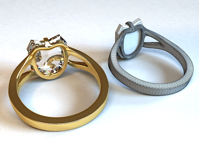 Gold and Diamond Ring 3d rendering