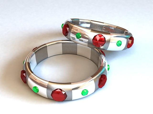 Gemstone Bangle Bracelet 3d rendering