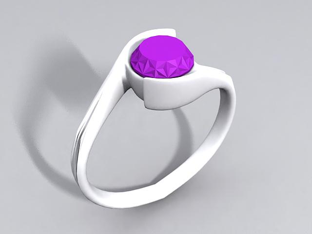 Purple Gemstone Ring 3d rendering
