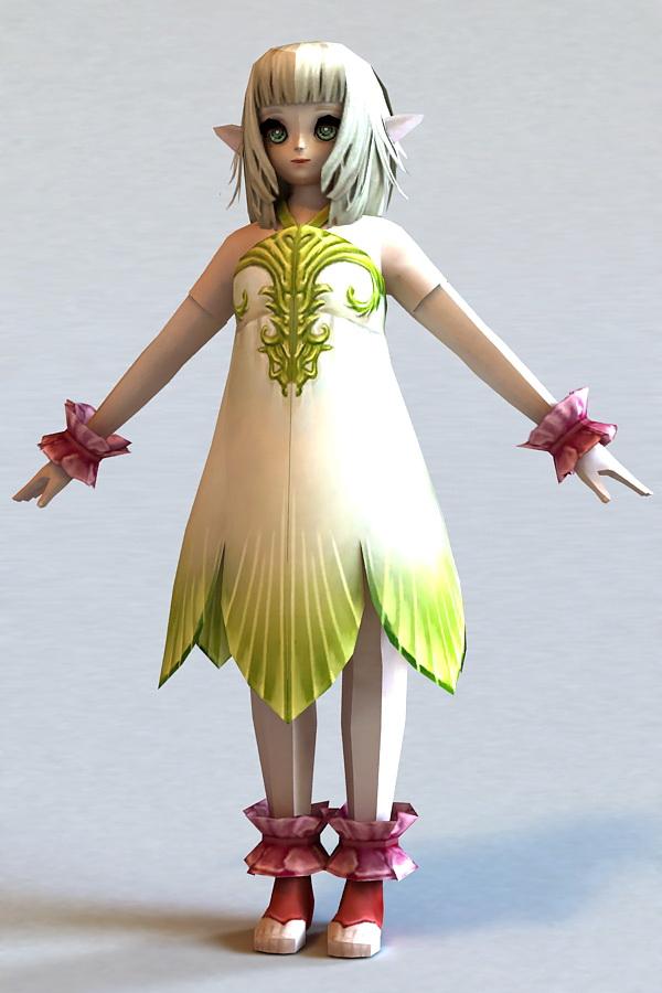 Cute Emo Anime Girl 3d rendering