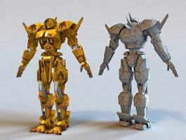 Fighting Yellow Robot 3d model preview