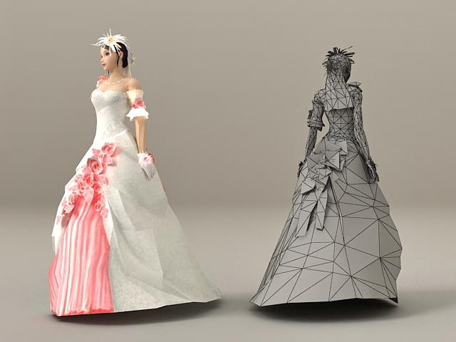 Beautiful Bride 3d rendering