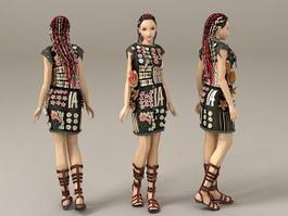 Cool Scene Girl 3d model preview