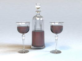 Red Wine Bottle and Glass 3d model preview