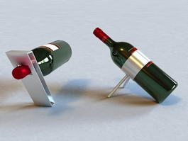 Wine Bottle with Rack 3d preview