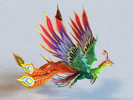 Animated Rainbow Phoenix 3d preview