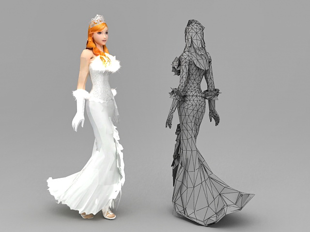 Blonde Bride 3d rendering