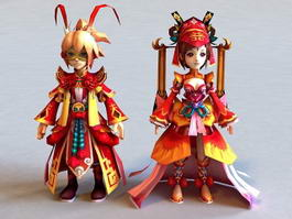 Ancient Chinese Anime Couple 3d preview
