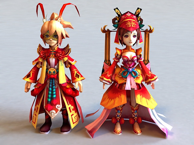 Ancient Chinese Anime Couple 3d rendering