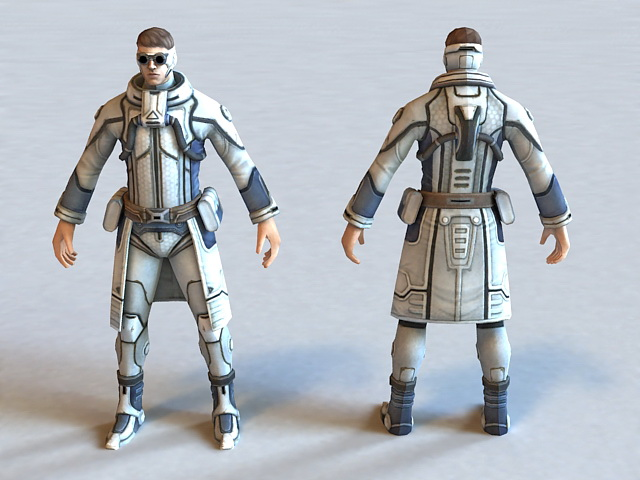 Futuristic Security Agent 3d rendering