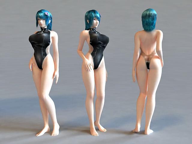 Bikini Scene Girl 3d rendering