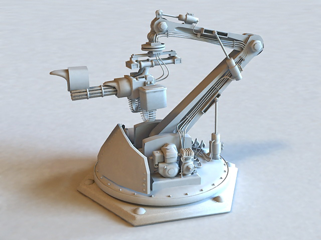 Sci-Fi Gun Turret 3d rendering