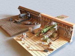 18th Century Cannon Deck 3d preview
