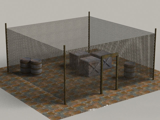 Military Chain Link Fencing 3d rendering