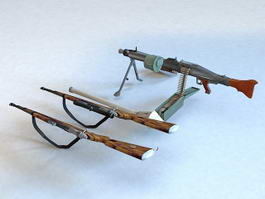 Guns Firearms Weapon Collection 3d model preview