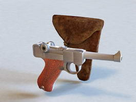 Pistol and Holster 3d model preview