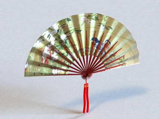 Japanese Hand Fan 3d rendering