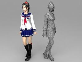 Japanese High School Girl 3d preview