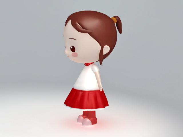 Cute Cartoon Girl 3D Model 3Ds Max,Maya,Object Files Free -5309