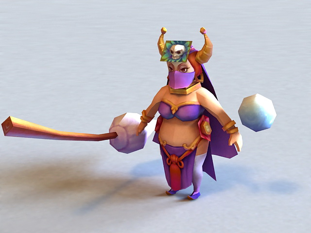 Anime Ugly Witch 3d rendering
