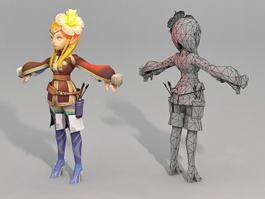 Anime Elf Archer Girl 3d model preview