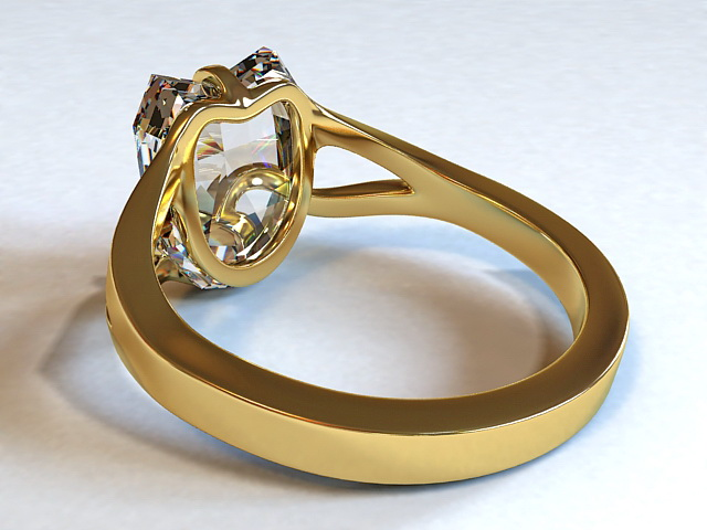 Diamond & Gold Ring 3d rendering