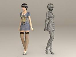 Elegant Lady Fashion 3d model preview