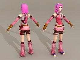 Manga Anime Warrior Girl 3d model preview