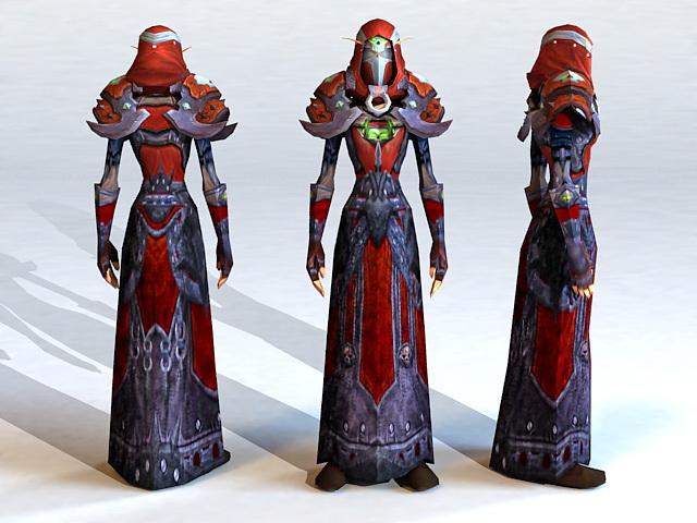 Blood Elf Warlock 3d rendering