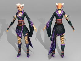 Fantasy Scene Girl 3d model preview