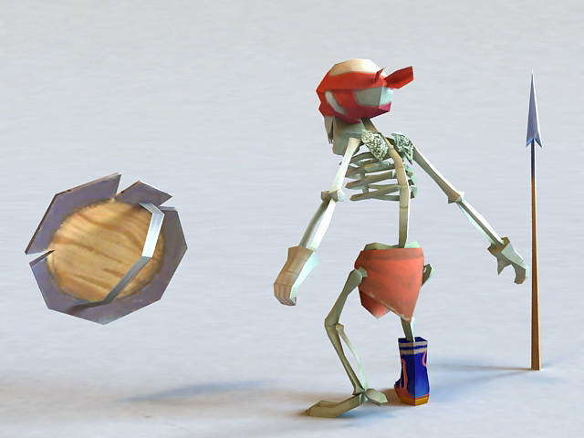 Skeleton Soldier 3d rendering