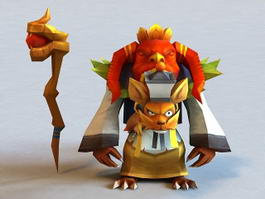Anime Fox Wizard 3d model preview