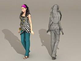Asian Fashion Girl 3d model preview