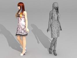 Beautiful Asian Woman 3d model preview