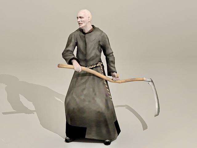 Zombie Friar Monk 3d rendering