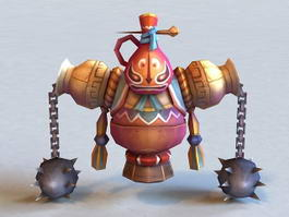 Mechanism with Spiked Ball and Chain 3d model preview