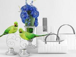 Parrot Art Vase Decor 3d model preview