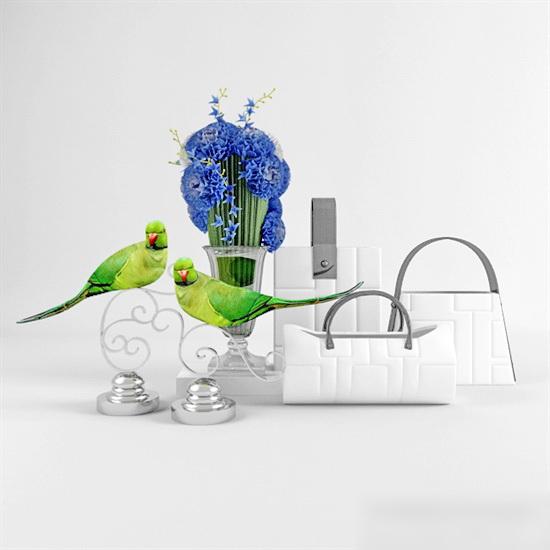 Parrot Art Vase Decor 3d rendering