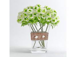 Glass Vase Flower Arrangement 3d model preview