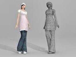 Beautiful Asian Girl 3d model preview