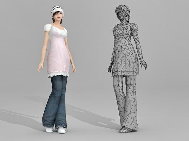Beautiful Asian Girl 3d rendering
